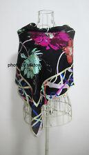 "Women's Fashion Scarf 100% Pure Silk Floral Square 35"" Shawl Printed Black"