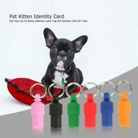 6PCS Anti-Lost Pet Dog Cat ID Name Address Label Tag Pet Identity Card ID Tube