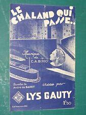 """Partition Chant  """"Le chaland qui passe"""" BIXIO / DE BADET"""