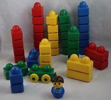 LEGO PRIMO Duplo Large Lot of Blocks 43 Total Pieces Multi-Color Person Car