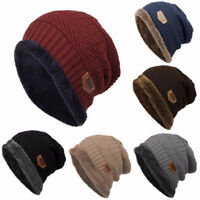 Unisex Women Men Camping Hat Winter Beanie Baggy Warm Wool Ski Cap Fleece Lined