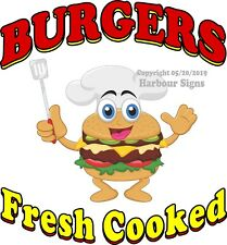 Burgers Fresh Cooked DECAL (CHOOSE YOUR SIZE) Food Truck Concession Sticker