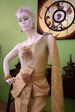 WEDDING DRESS THAI TRADITIONAL GOLD PRINCESS GOWN HAND NICE EMBROIDERY THAILAND