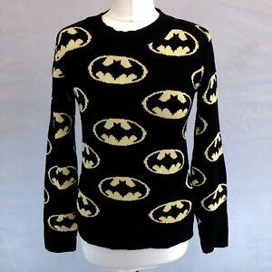 Vintage Retro Women's BATMAN Knitted Jumper Sweater Black Yellow Sz 8 Made in UK