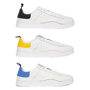 Diesel Men's Low Trainers, S-CLEVER Mohawk Logo, Real Leather, Contrasts - White