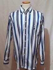 Green Coast Men's XL Shirt Embroidered Blue White Striped Chest Pocket L /  S