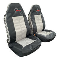 Canvas Seat Covers Landcruiser Black Grey Waterproof Map Pocket Front For Toyota