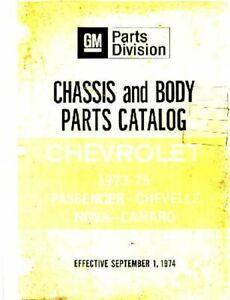 OEM Parts Book Chevy Camaro/Caprice/Chevelle/Impala/Nova 1973-1975