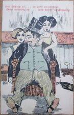 Risque 1915 Postcard: Women Stealing from Drunk Man's Pockets