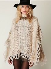 FREE PEOPLE MULTICOLOR STRIPED KNIT PONCHO SWEATER SHAWL SIZE S