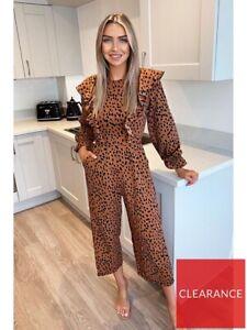 AX Paris Rust Ruffle Cropped Wide Leg Jumpsuit Long Sleeve Animal Print UK Sz 10