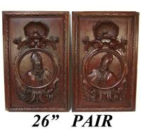 """PAIR Antique Victorian 26x22"""" Carved Wood Architectural Furniture Doors, Panels"""