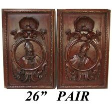 "PAIR Antique Victorian 26x22"" Carved Wood Architectural Furniture Doors, Panels"