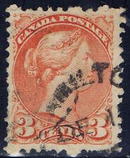 Canada #37(6) 3 cent orange red small Queen Victoria HAMILTON ONTARIO CANCEL