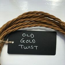 OLD GOLD VINTAGE STYLE TWIST BRAIDED CABLE/FLEX, 3 CORE, 3 AMP, ANGLEPOISE  LAMP