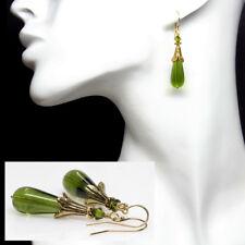Olive Czech Lampwork Glass Earrings, Gold Green Earrings, Artisan