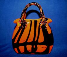 "Vintage Murano Hand Made Art Glass Orange Black Purse Vase 8"" Tall Stunning"