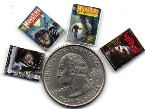 4 Werewolf   MAGAZINES Set - DOLLHOUSE miniature 1:24 Opening BLANK pages