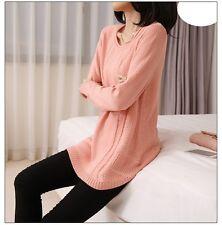Caldo morbido maglione maglia pullover donna rosa girocollo misto lana 4242