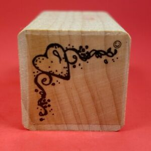 """Small Wood Mounted 1"""" x 1""""  Rubber Stamp - Heart Ribbon Border Corner Decoration"""