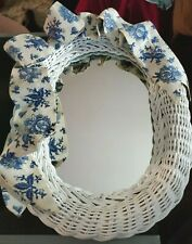 Country Style Hanging White Wicker Mirror Blue & White Ribbon Flower (Pre-Owned)