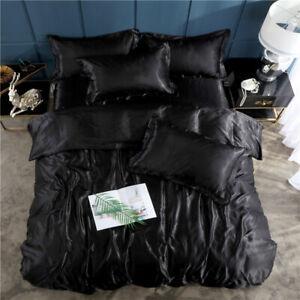 4pcs Soft Satin Silk Bedding Set Luxury Solid Bed Sheet Duvet Cover Pillowcase