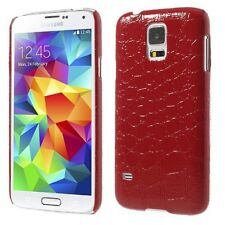 Samsung Galaxy S5 G900 Hard Case Croco Style Krokodil Coated Hülle Cover Rot