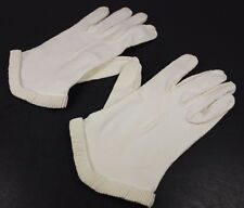 Vintage White Dress Gloves Small Ruffled Cuff Stitched Back Pin Up Rockabilly