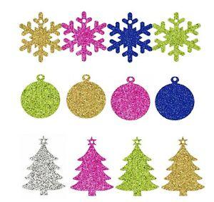 GLITTER Christmas Shapes Gift Tags, Snowman, Snowflake, Xmas Tree, Bauble