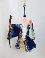 Wizard Sorcerer with Staff Glass Ornament Kurt Adler Noble Gem