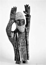 Inuit Eskimo figure serpentine stone sculpture of The Preacher. 14 inch.