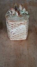 Vintage McCoy Pottery Pine Cone Basket Weave Cookie Jar Nice!!