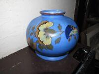 Antique Belgian Art Pottery HAND PAINTED, THROWN VASE/ JARDINIERE BIRD /FLOWERS