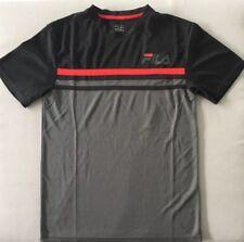Fila Men'S Kinetic S/S Crew Mesh Tee Shirt Black Grey Red Performance Dri Tech