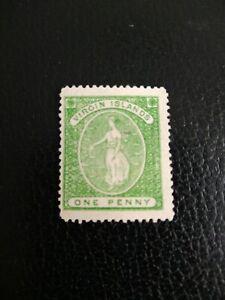 BRITISH VIRGIN ISLANDS 1868  1d Yellow-Green. Mint No Gum SG 9.