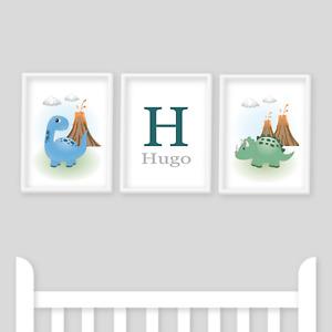 Dinosaur Nursery Prints, Set of 3, Blue, Baby Boy, Personalised  Name, Nursery