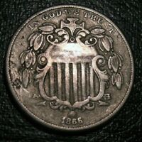 Old US Coins 1866 WITH RAYS FIve Cents Shield Nickel 5