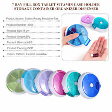 Semi Automatic Push Button 7 Day Travel Pill Box Tablet Dispenser Organiser UK