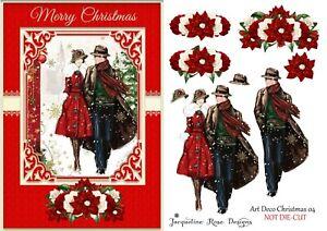 Art Deco Christmas 04 Decoupage 1 x A4 Sheet NOT DIE-CUT