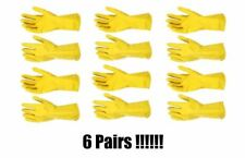 """(6) Pair 12"""" Yellow Flocklined Latex Hazmat Safety Gloves Cleaning Washing"""