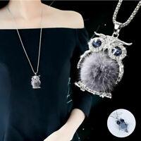 Rhinestone Women Crystal Pendant Necklace Fur Long Chain Sweater Tassel Gift Owl