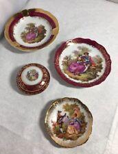 Vintage Lot of Limoges Porcelain Miniatures Courting Couple Design Plates & Pot