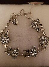 Betsey Johnson Silver-tone Something New Crystal Flower Bracelet