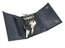New Black Nappa Leather Key Case Holder Wallet With Hooks Zip Pocket