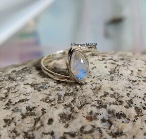 Moonstone Band Ring 925 Silver Plated Handmade Ring Women Ring Size 5.5 k49