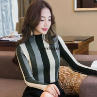 Women Mock Neck Sweater Pullover Knit Tops Striped Bottom Shirt Business Blouse