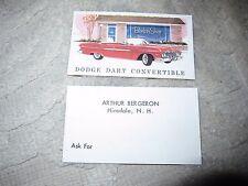 Vtg Arthur Bergeron car dealership business cards, red 62 Dodge Dart convertible