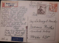 J) 1953 CZECHOSLOVAKIA, MOTHER AND CHILD, LETTER, POSTCARD, MULTIPLE STAMPS, AIR