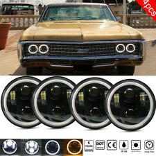 """4PCS 5 3/4"""" 5.75 LED Headlights w/ Halo Ring DRL for Chevrolet Caprice 1966-1976"""