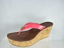 Tory Burch Women's Pink Patent Leather Wedge With Gold Logo Shoes 10